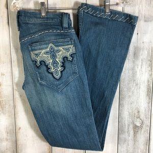Antik Denim Jeans Distressed Heavy Stitching 27